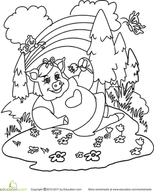 First Grade Coloring Worksheets: Color the Daydreaming Pig