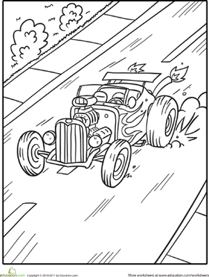 Second Grade Coloring Worksheets: Hot-Rod Roadster Coloring Page