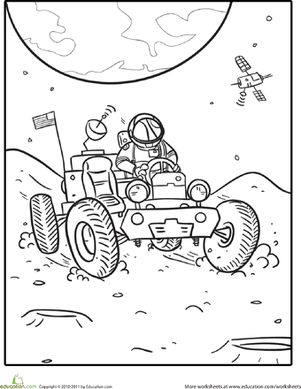 outer space coloring lunar rover - Space Coloring Pages