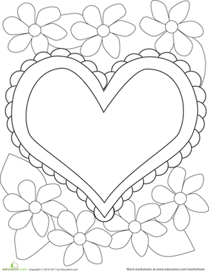 Preschool Holidays & Seasons Worksheets: Color the Heart & Flowers
