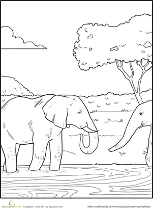 First Grade Coloring Worksheets: Color the Elephants