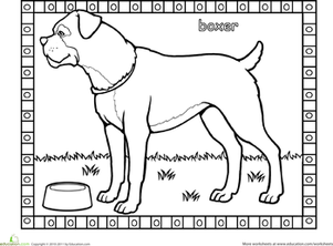 First Grade Coloring Worksheets: Boxer Coloring Page
