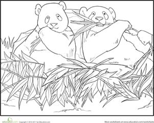First Grade Coloring Worksheets: Panda Pals Coloring Page