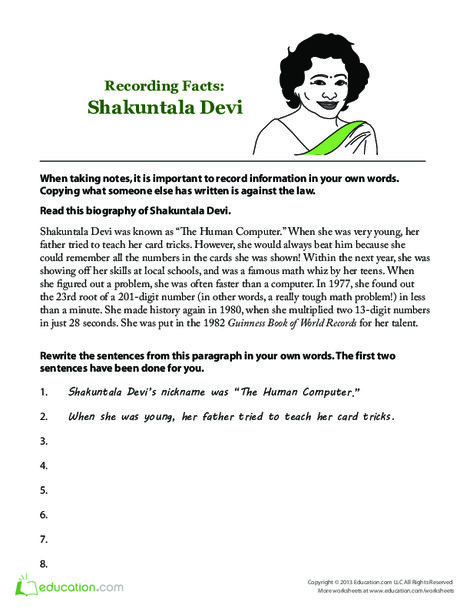 Second Grade Seasons Worksheets: Shakuntala Devi