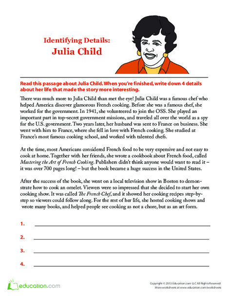 Second Grade Seasons Worksheets: Julia Child Biography