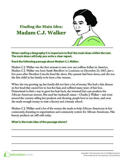 Second Grade Reading & Writing Worksheets: Madam C.J. Walker