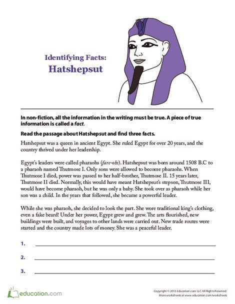 Second Grade Seasons Worksheets: Hatshepsut