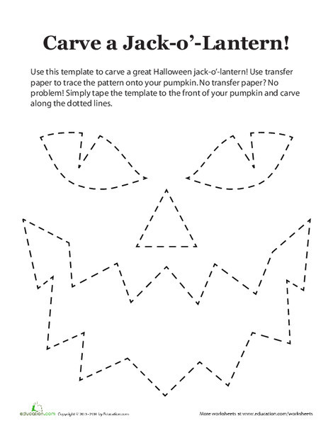 Third Grade Holidays Worksheets: Jack-o'-Lantern Pattern