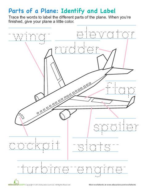 Kindergarten Reading & Writing Worksheets: Airplane Parts