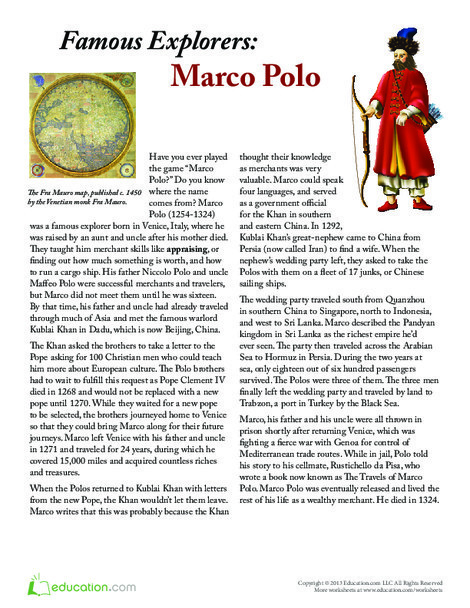 Fifth Grade Reading & Writing Worksheets: Marco Polo