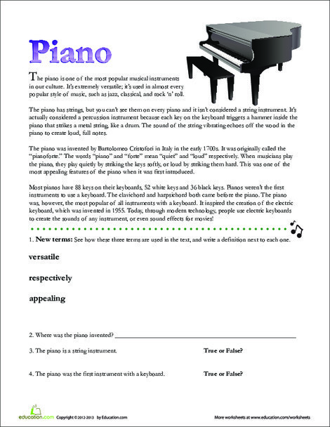 Second Grade Reading & Writing Worksheets: Piano Facts