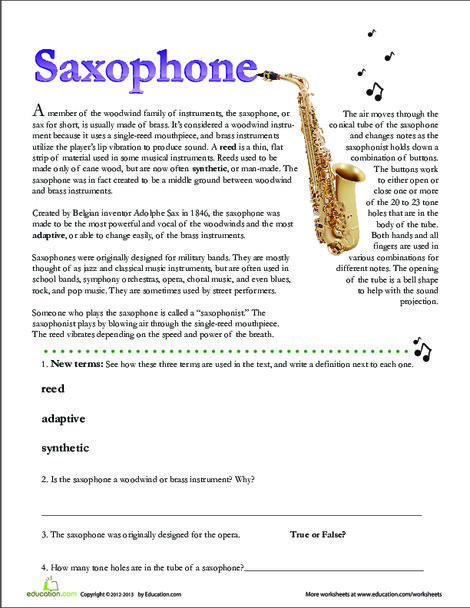 Second Grade Reading & Writing Worksheets: Saxophone Facts