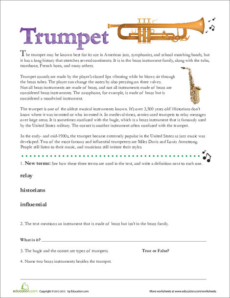 Second Grade Reading & Writing Worksheets: Trumpet Facts