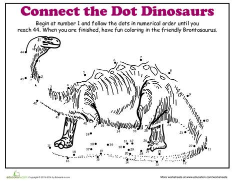 Kindergarten Coloring Worksheets: Dot-to-Dot Dinosaur: Brontosaurus