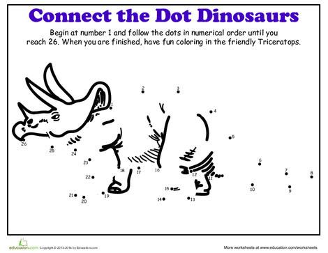 Kindergarten Coloring Worksheets: Dot-to-Dot Dinosaur: Triceratops