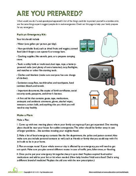 Fifth Grade Reading & Writing Worksheets: Disaster Preparedness