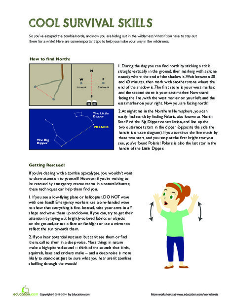 Fifth Grade Reading & Writing Worksheets: Survival Skills