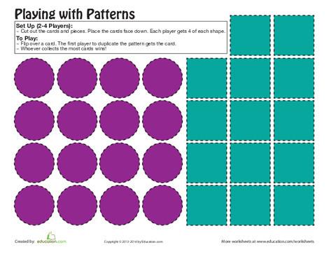 Preschool Math Worksheets: Pattern Game