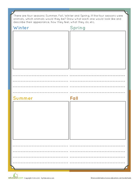 Fourth Grade Reading & Writing Worksheets: Seasons Writing Prompt