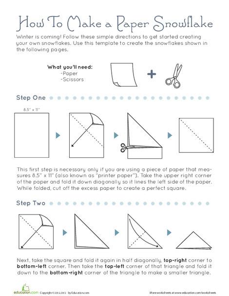 Third Grade Arts & crafts Worksheets: How To Make Snowflakes