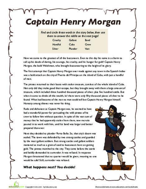 Third Grade Reading & Writing Worksheets: Captain Henry Morgan