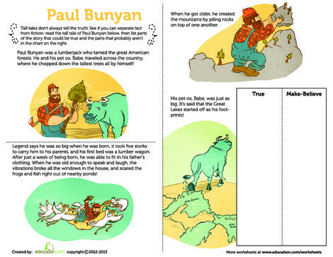 Second Grade Reading & Writing Worksheets: Paul Bunyan