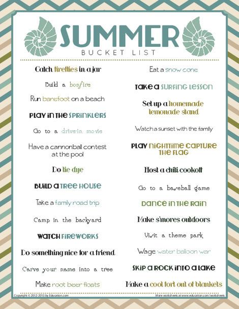 First Grade Offline games Worksheets: Summer Bucket List