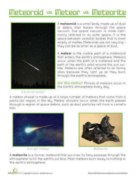 Fifth Grade Science Worksheets: Meteor, Meteorite, Meteoroid