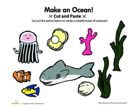 Preschool Arts & crafts Worksheets: Cut-and-Paste Ocean