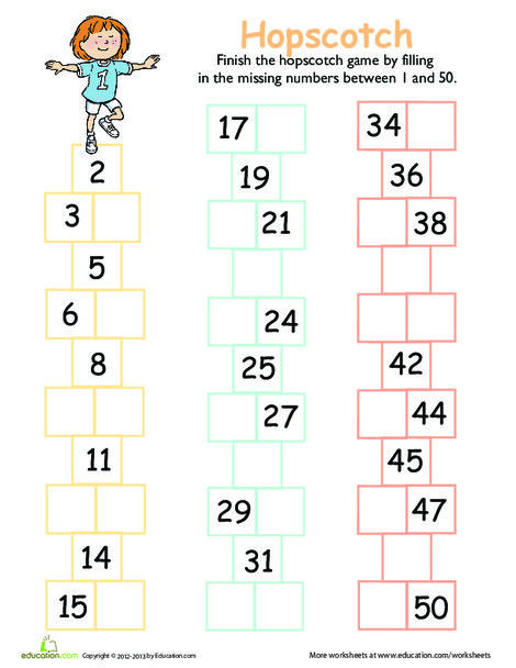 Preschool Math Worksheets: Hop to the Missing Numbers