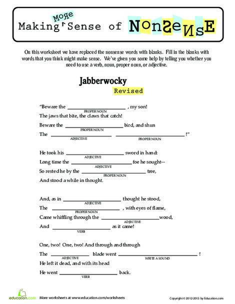 Third Grade Reading & Writing Worksheets: Make Nonsense