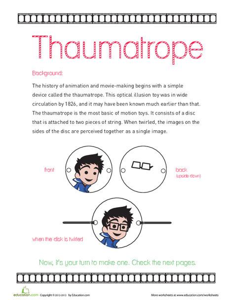 Fourth Grade Arts & crafts Worksheets: Thaumatrope
