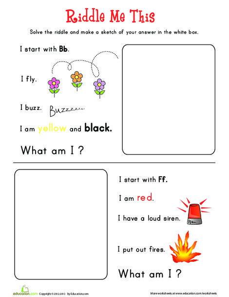 Preschool Reading & Writing Worksheets: Riddle Me This 1