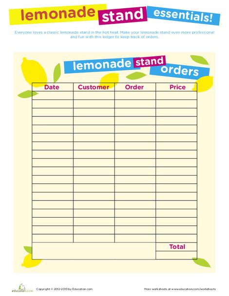 Fourth Grade Arts & crafts Worksheets: Lemonade Stand Printables