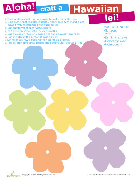 Fourth Grade Arts & crafts Worksheets: Paper Lei