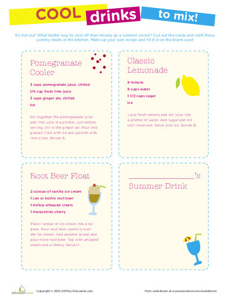 Fourth Grade Seasons Worksheets: Summer Drink Recipes