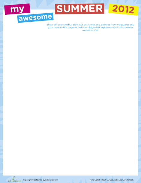 Fourth Grade Seasons Worksheets: Summer Collage