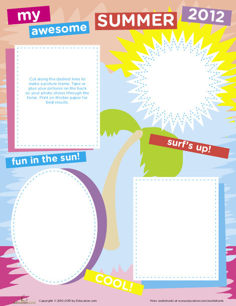 Fourth Grade Seasons Worksheets: Paper Picture Frame