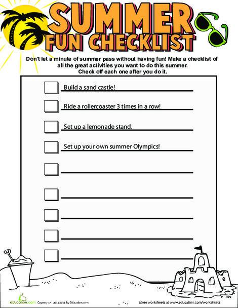 Fourth Grade Reading & Writing Worksheets: Summer Fun Checklist