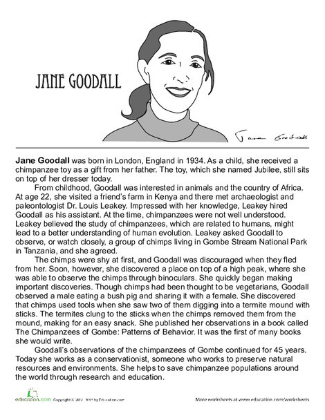 Fourth Grade Science Worksheets: Jane Goodall Biography