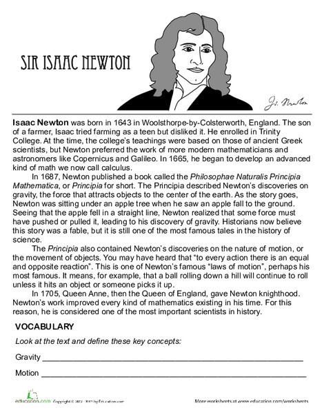 Fourth Grade Science Worksheets: Isaac Newton Biography