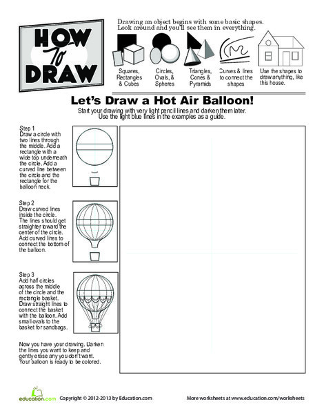Second Grade Math Worksheets: How to Draw a Hot Air Balloon
