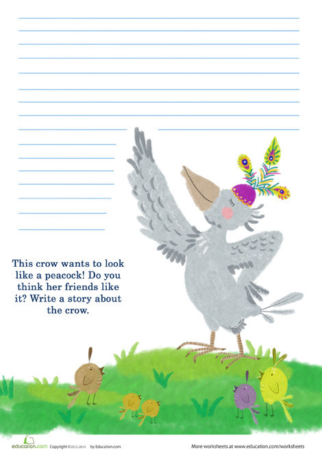 Second Grade Reading & Writing Worksheets: Peacock Writing Prompt