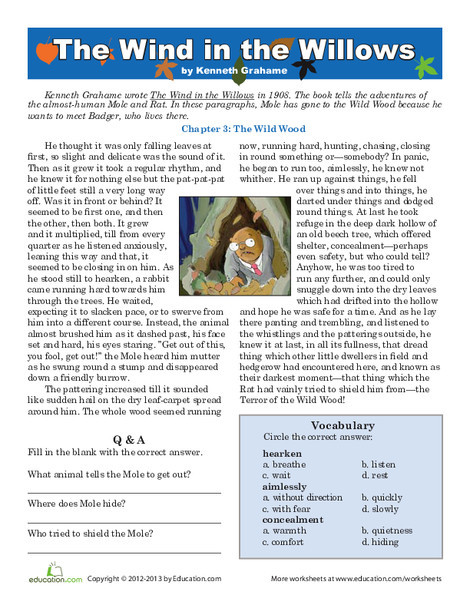 Fifth Grade Reading & Writing Worksheets: Reading: The Wind in the Willows