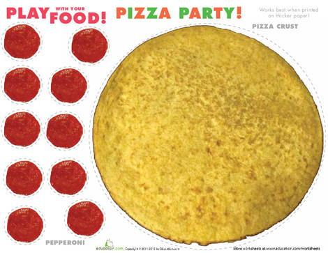 Preschool Arts & crafts Worksheets: Play Food: Pizza