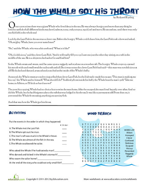 Third Grade Reading & Writing Worksheets: How the Whale Got His Throat: Reading Comprehension