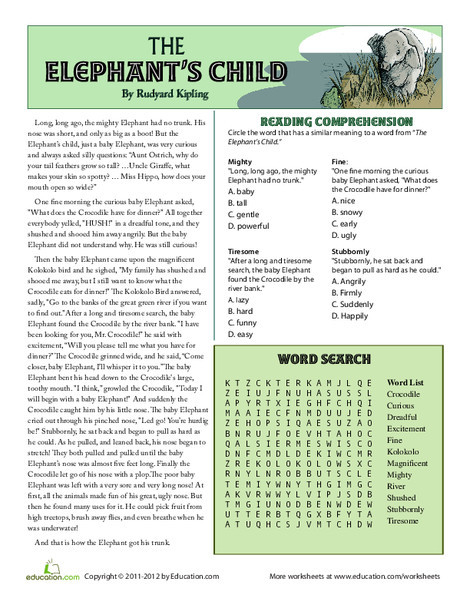 Third Grade Reading & Writing Worksheets: The Elephant's Child
