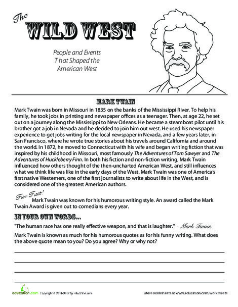 Fifth Grade Reading & Writing Worksheets: All About Mark Twain