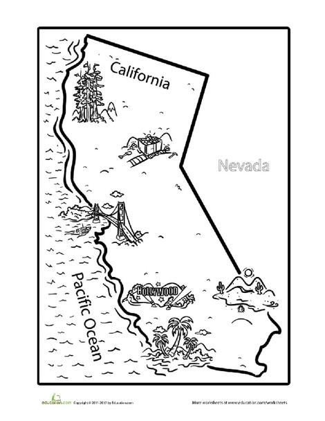 Third Grade Coloring Worksheets: California Coloring Page