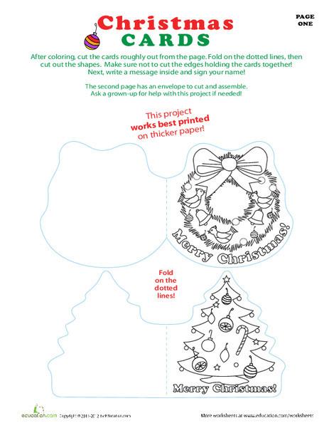 Third Grade Holidays Worksheets: Christmas Card Templates